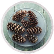 Stil Life With  Seven Pine Cones Round Beach Towel