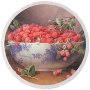 Still Life Of Raspberries In A Blue And White Bowl Round Beach Towel