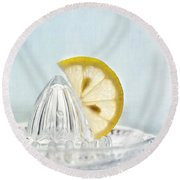 Still Life With A Half Slice Of Lemon Round Beach Towel