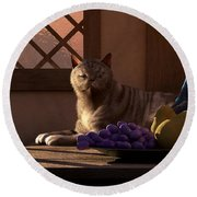 Still Life With Wine Fruit And Cat  Round Beach Towel