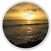 Round Beach Towel featuring the photograph Storm At Sea by Bruce Carpenter