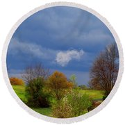 Round Beach Towel featuring the photograph Storm Cell by Kathryn Meyer