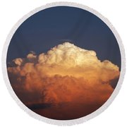Round Beach Towel featuring the photograph Storm Clouds At Sunset by Mark Dodd