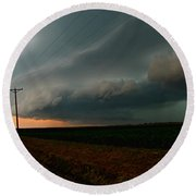 Round Beach Towel featuring the photograph Storm Front by Debbie Portwood
