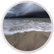 Storm Rolling Round Beach Towel by Nick  Shirghio