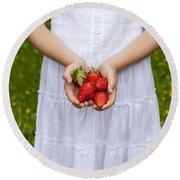 Strawberries Round Beach Towel by Joana Kruse