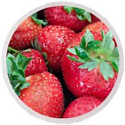 Strawberry Delight Round Beach Towel by Sherry Hallemeier