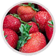 Strawberry Delight Round Beach Towel