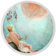 Strawberry Moon Nymph Round Beach Towel