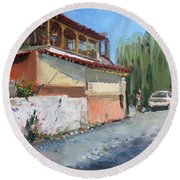 Street In A Greek Village Round Beach Towel