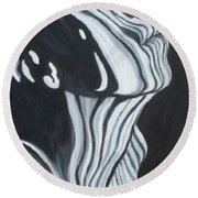 Round Beach Towel featuring the painting Stripes by Julie Brugh Riffey