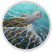 Struggle -leatherback Sea Turtle Round Beach Towel