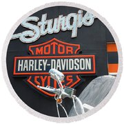 Sturgis Harley Store Round Beach Towel by Micah May