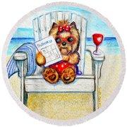 Sudoku At The Beach Round Beach Towel