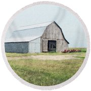 Round Beach Towel featuring the digital art Summer Barn by Debbie Portwood