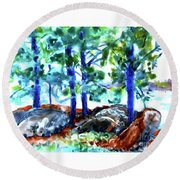 Summer By The Lake Round Beach Towel