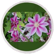 Summer Clematis Round Beach Towel
