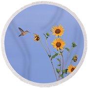 Summer Day Hummingbird Round Beach Towel
