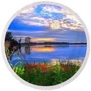 Round Beach Towel featuring the photograph Summertime Walk Around Lake  by Randall Branham