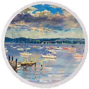 Sun And Clouds In Hudson Round Beach Towel