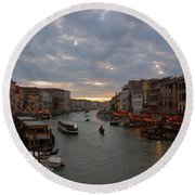 Sun Sets Over Venice Round Beach Towel by Eric Tressler