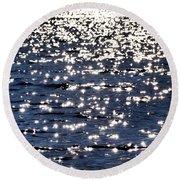 Sun Sparkle On Blue Waters Round Beach Towel