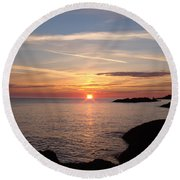 Round Beach Towel featuring the photograph Sun Up On The Up by Bonfire Photography