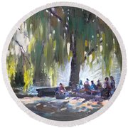 Sunday Afternoon By The Fontain Round Beach Towel