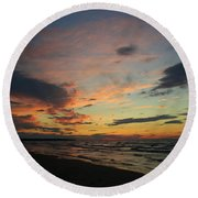 Round Beach Towel featuring the photograph Sundown  by Barbara McMahon