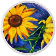 Sunflowers Round Beach Towel by Diana Haronis