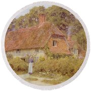 Sunflowers By Helen Allingham Round Beach Towel