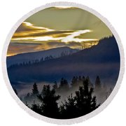 Round Beach Towel featuring the photograph Sunrise And Valley Fog by Albert Seger