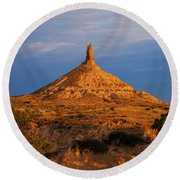 Sunrise At Chimney Rock Round Beach Towel