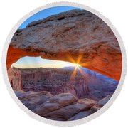 Sunrise At Mesa Arch Round Beach Towel