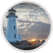Sunrise At Peggys Cove Lighthouse In Nova Scotia Number 041 Round Beach Towel by Randall Nyhof
