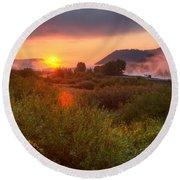 Sunrise At Snake River Round Beach Towel