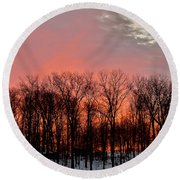Round Beach Towel featuring the photograph Sunrise Behind The Trees by Mark Dodd