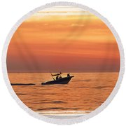 Round Beach Towel featuring the photograph Sunrise Boat Ride by Janie Johnson
