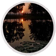 Sunrise From My Pad Round Beach Towel