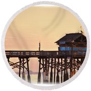 Round Beach Towel featuring the photograph Sunrise On Rickety Pier by Janie Johnson