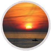 Sunrise Over Gyeng-po Sea Round Beach Towel by Kume Bryant