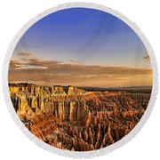 Sunrise Over The Hoodoos Round Beach Towel by Anne Rodkin