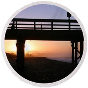 Sunrise Pier Ventura Round Beach Towel