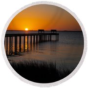 Sunset Across Currituck Sound Round Beach Towel