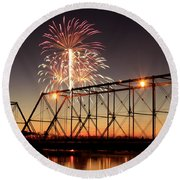 Sunset And Fireworks Round Beach Towel