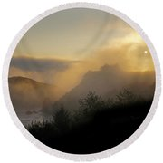 Sunset At Harris Beach Round Beach Towel by Mick Anderson