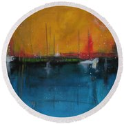 Sunset At The Lake  # 1 Round Beach Towel by Nicole Nadeau
