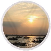 Round Beach Towel featuring the photograph The Sunset Of Late Summer by Dora Sofia Caputo Photographic Art and Design