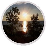Sunset At The Point Round Beach Towel