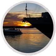Sunset At The Shore Round Beach Towel by Barbara Middleton